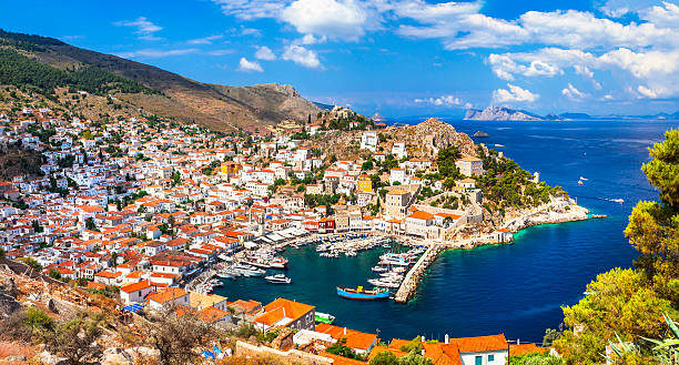 Scenery Of Hydra Island,Greece. Picturesque Village Of Hydra Island,Saronic,Greece. rymdraket stock pictures, royalty-free photos & images