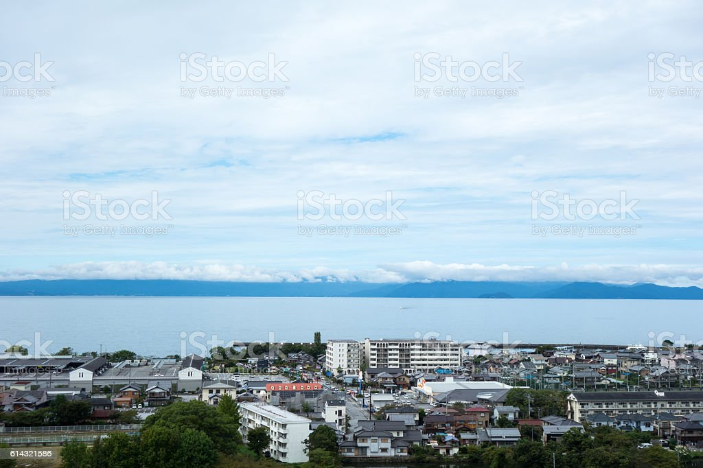 Scenery of Lake Biwa stock photo