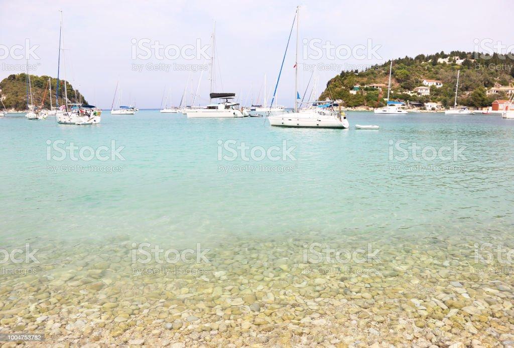cenário de Lakka aldeia Paxos ilha Grécia - foto de acervo