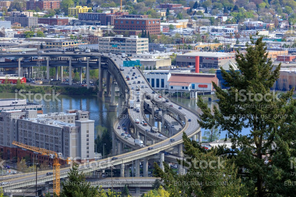 Scenery of Marquam Bridge over Willamette River in Portland city stock photo