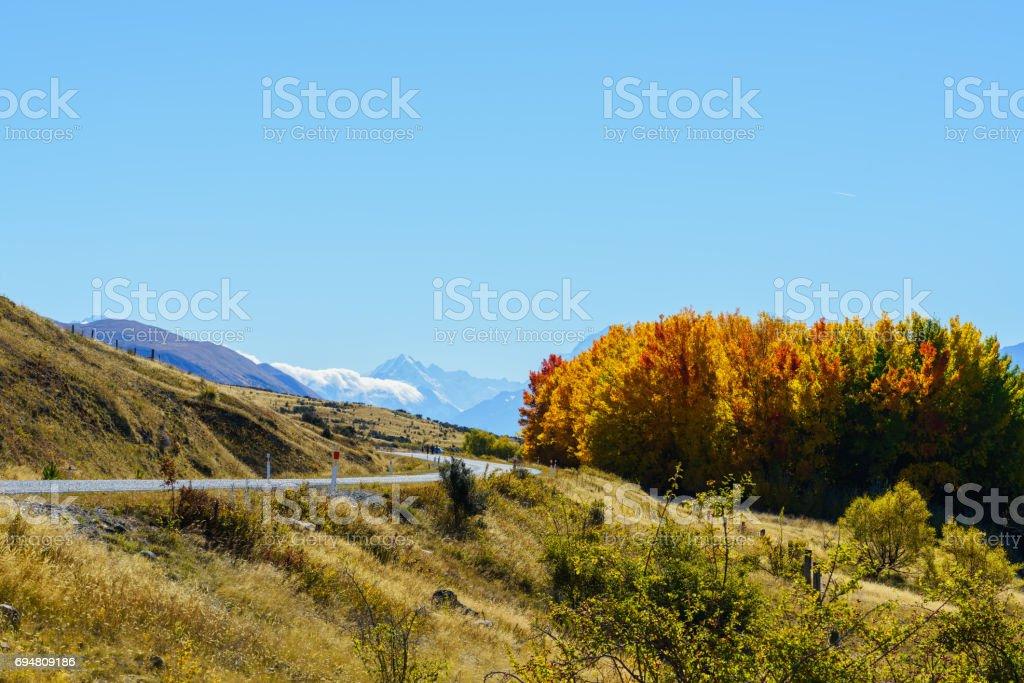 Scenery of Mount Cook /Aoraki road along Lake Pukaki , Mackenzie District, Canterbury region, South Island of New Zealand stock photo