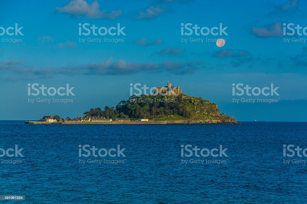 scenery of mount st michael island fortress at sunset stock photo