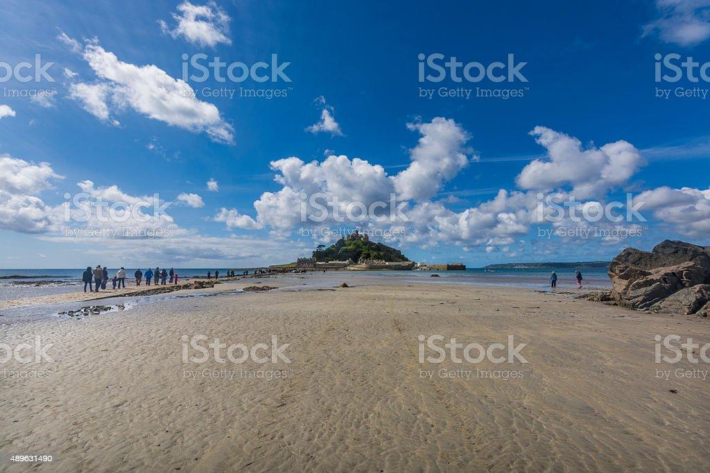 scenery of mount st michael island fortress stock photo