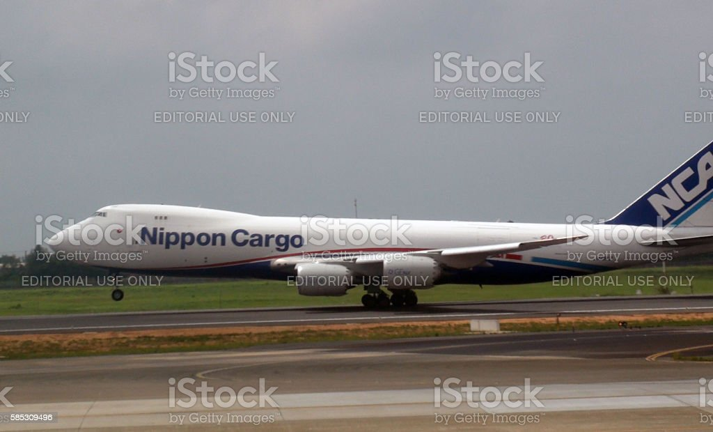 Scenery Of Nippon Cargo Airlines Airplane Taking Off stock photo