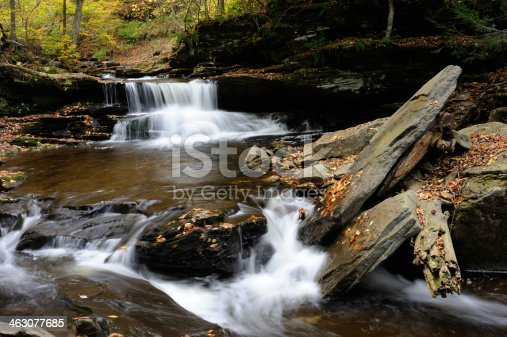 Scenery of Ricketts Glen State Park in Autumn, Pennsylvania, USA
