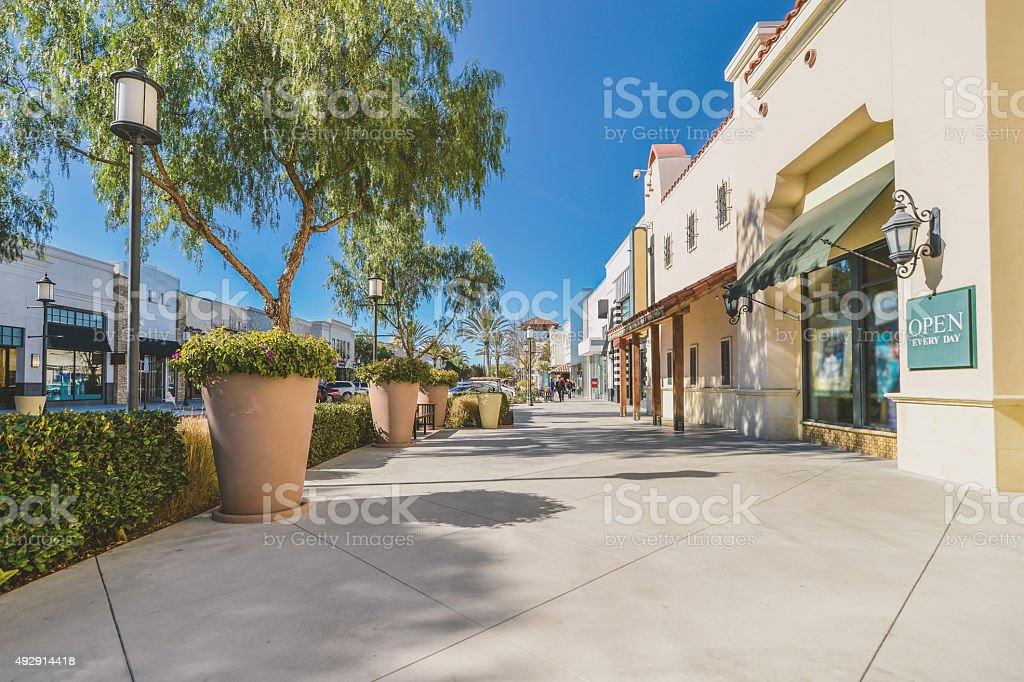 Scenery of shopping district stock photo