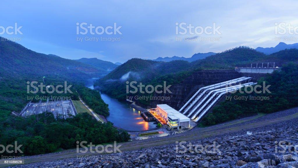 Scenery of Srinakharin dam in twilight, Kanchanaburi Province , Thailand stock photo