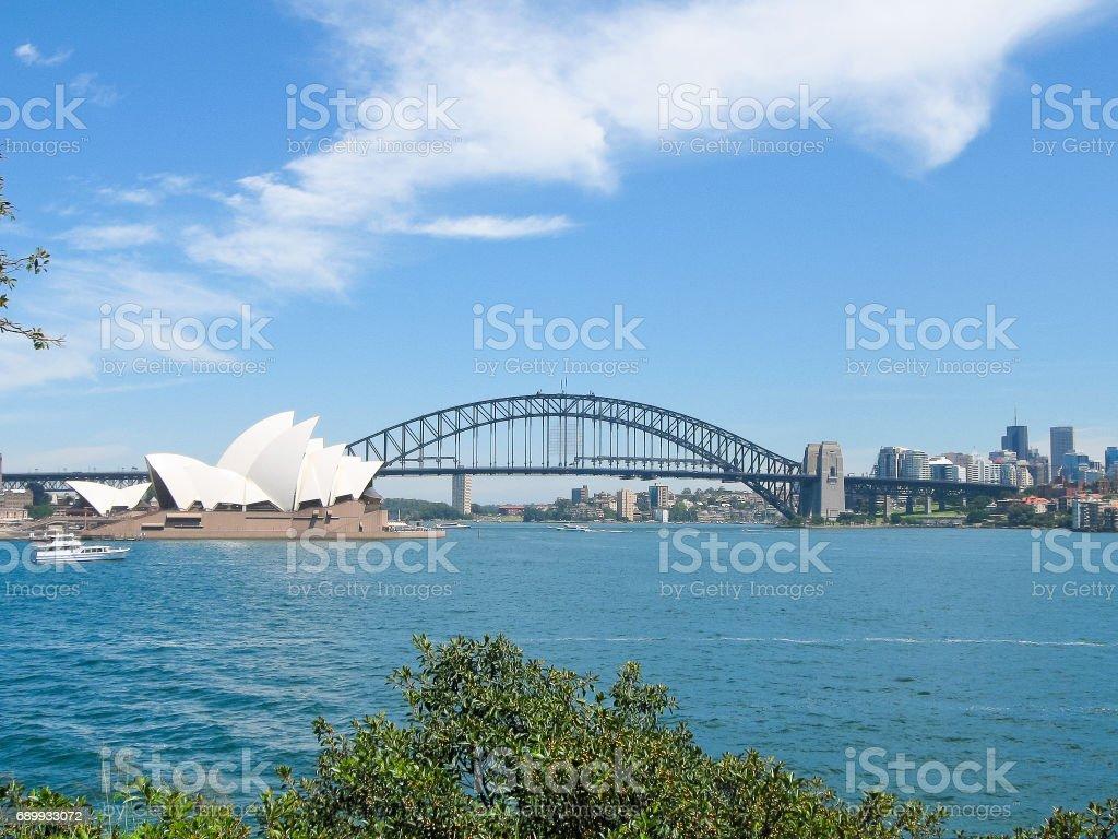 Scenery of Sydney Opera House, Habour Bridge and skyscraper stock photo