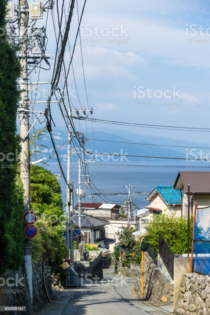 Scenery of the Ajiro residential area with an ocean view stock photo