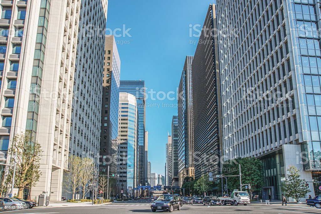 Scenery of the business district in Tokyo stock photo