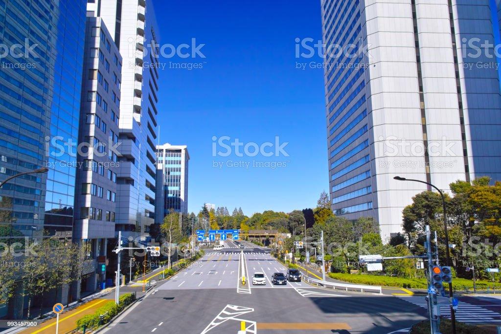 青山 1 丁目交差点の方向の風景 ストックフォト
