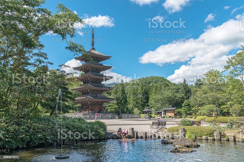Scenery of the five storied pagoda in Japan stock photo