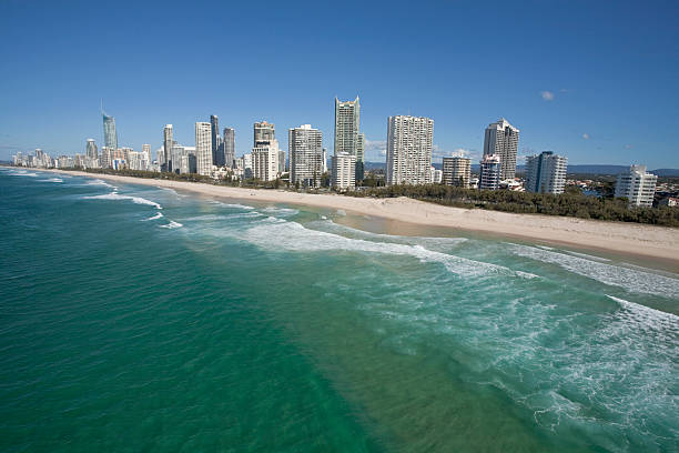 Scenery of the gold coast and tall buildings stock photo