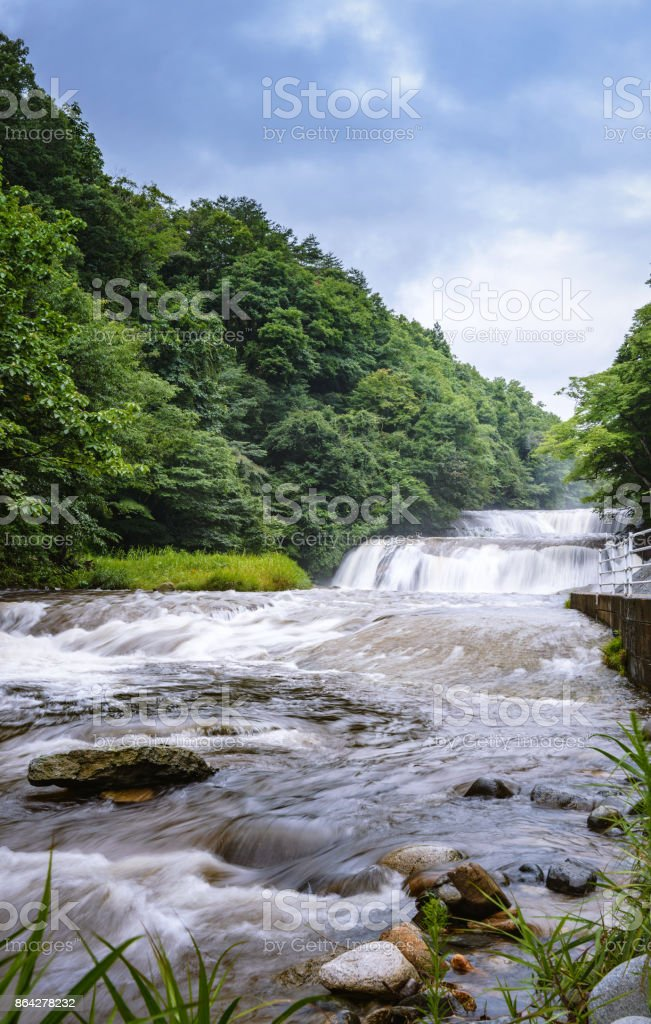 Scenery of the waterfall in the ravine royalty-free stock photo