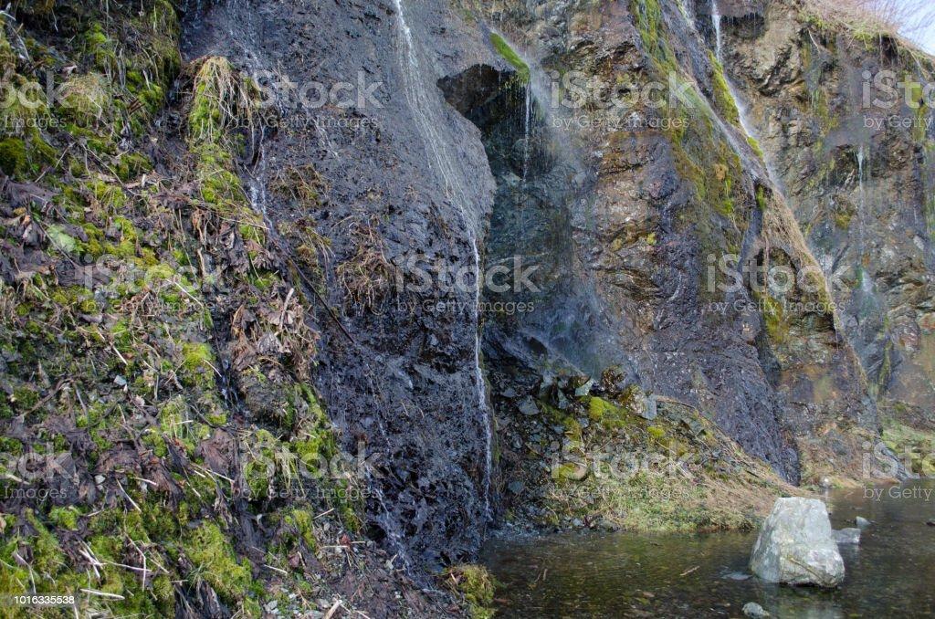 Scenery of the waterfall stock photo