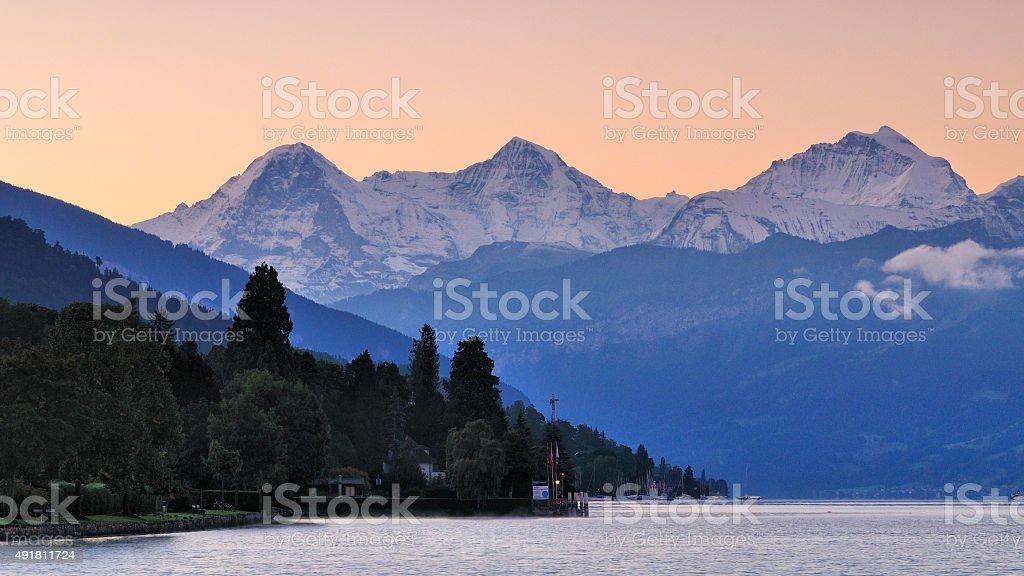 Scenery of Thun Lake in the morning stock photo