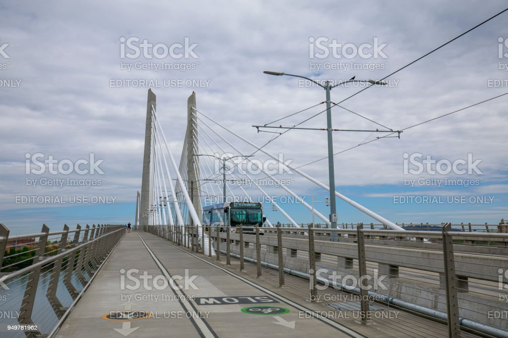 Scenery of Tilikum Crossing, Bridge in Portland stock photo