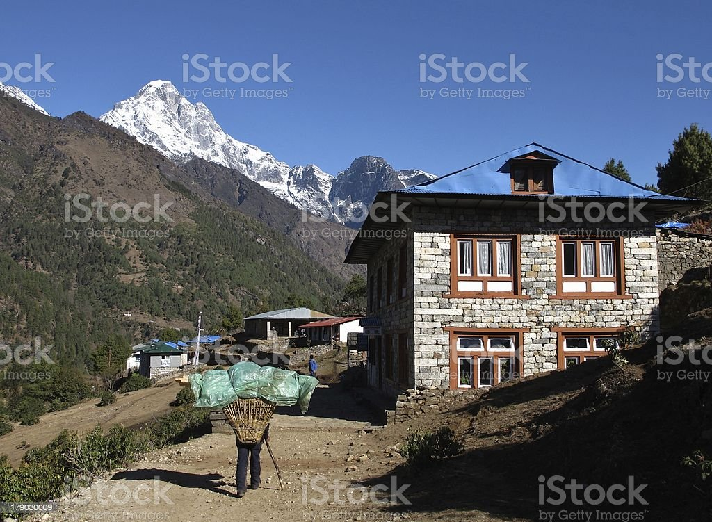 Scenery on the way from Lukla to Namche Bazar royalty-free stock photo