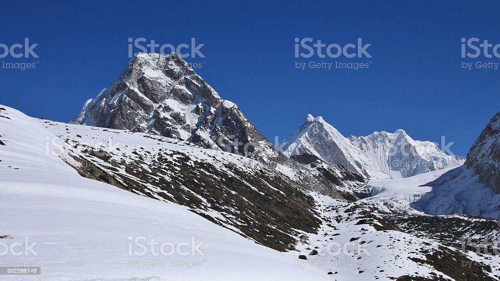 Scenery on the way to Cho La pass, Nepal stock photo