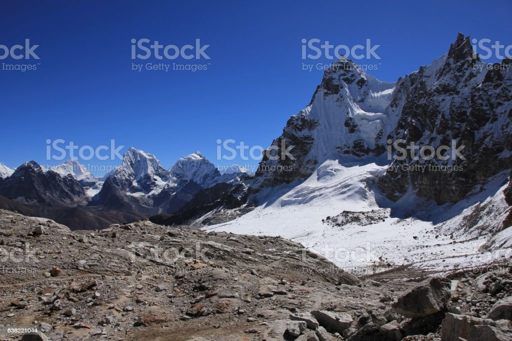 Scenery on the way to Renjo La mountain pass stock photo