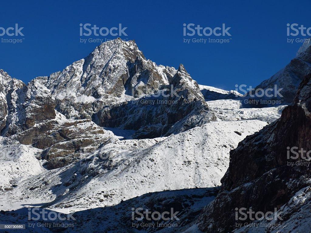 Scenery on the way to the Cho La mountain pass, Nepal stock photo