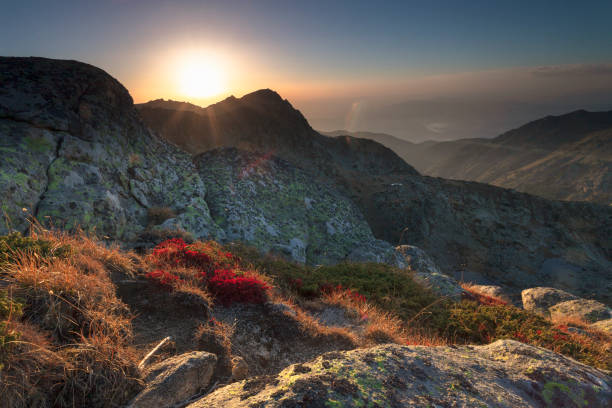 Scenery sunset in the mountain stock photo