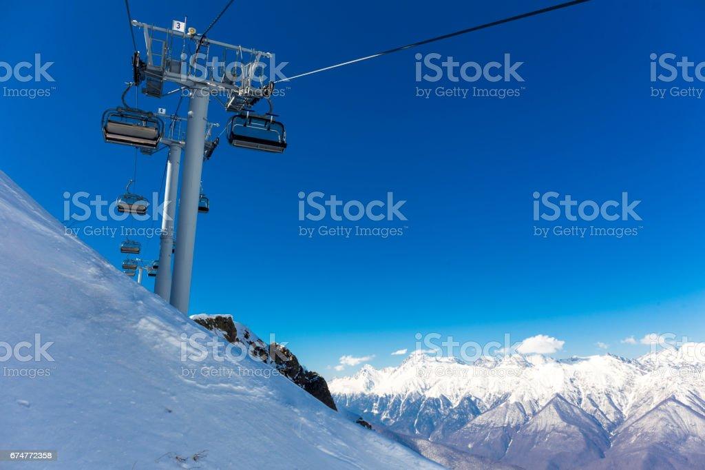 Scenery top view on winter mountains from ski resort Gorky Gorod stock photo