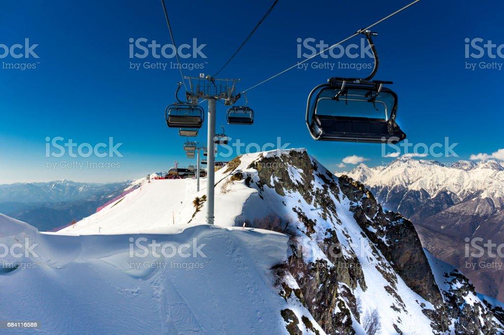 Scenery top view on winter mountains from ski resort Gorky Gorod zbiór zdjęć royalty-free