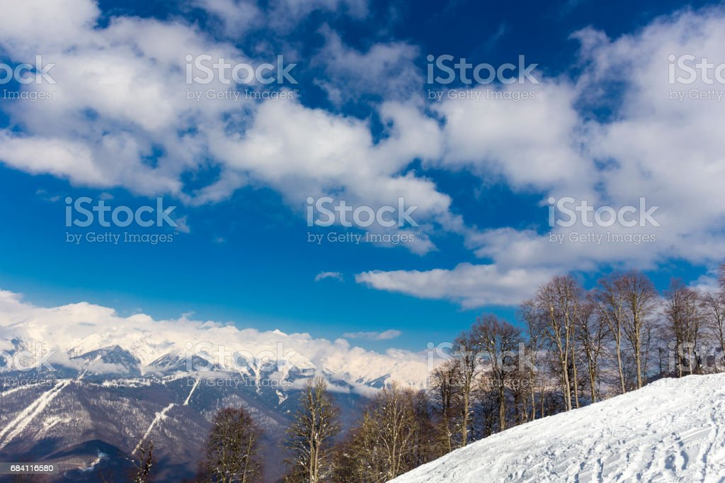 Scenery top view on winter mountains foto stock royalty-free