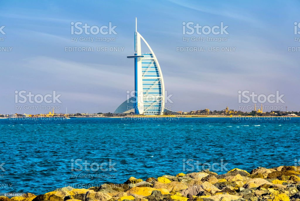 Scenery view of Burj Al Arab, Seven Star Hotel, A view from Jumeirah Beach, Arabian Sea, Residential and Business Skyscrapers, Dubai, UAE stock photo
