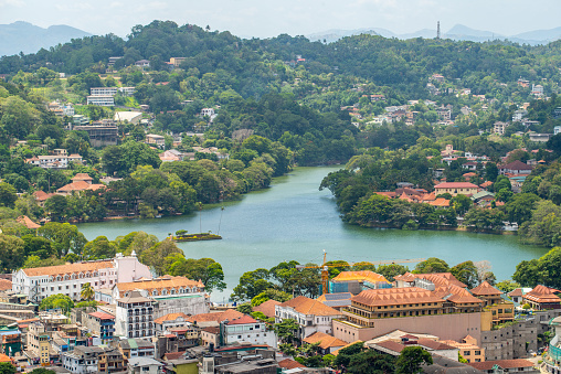 Scenery view of Kandy lake the beautiful stunning place in the heart of Kandy city, Sri Lanka.