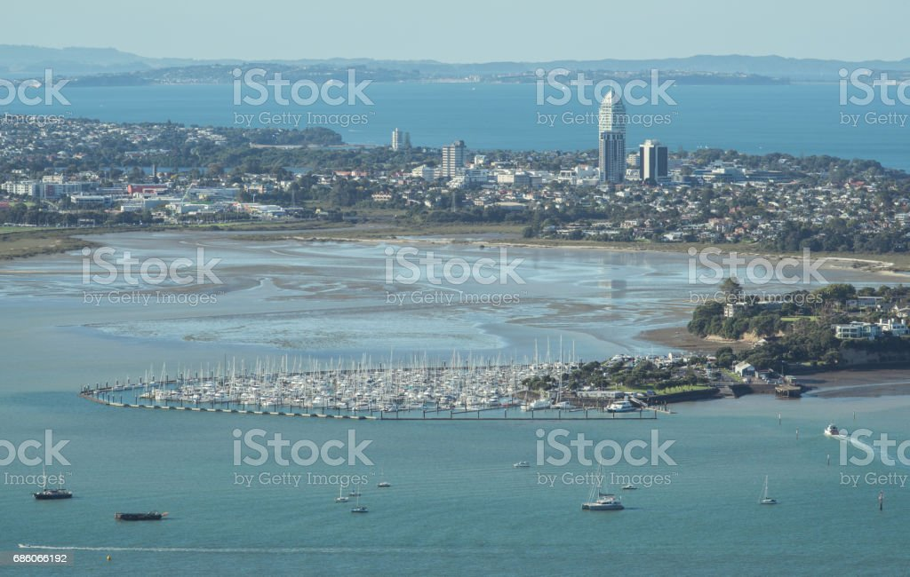 Scenery view of the North Shore and Shoal Bay view from the top of Auckland Sky tower, New Zealand. stock photo