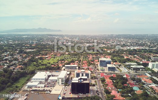 Scenery view on Managua city aerial above drone view