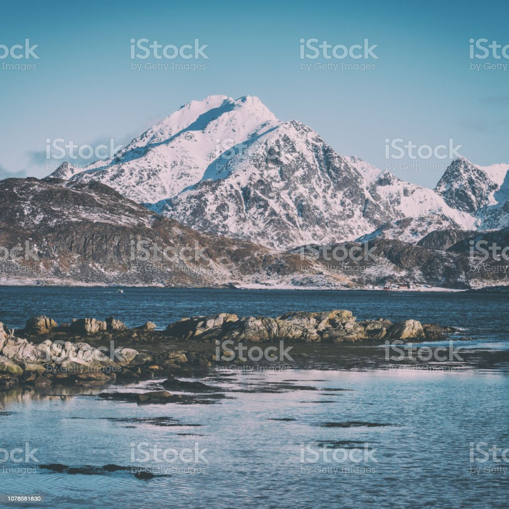 Landschaft Winterlandschaft in Norwegen, wilden nördlichen Natur, Lofoten-Inseln, Napp, Flakstad – Foto