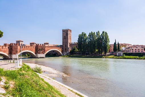 Verona, Italy. Scenery with Adige River and Ponte Scaligero and Castelvecchio, medieval landmarks