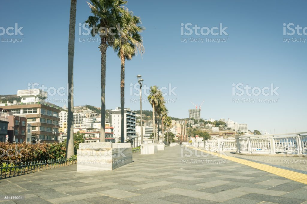 Scenery with bench stock photo