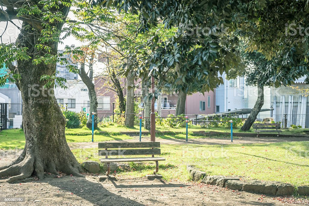 Scenery with the bench / Park of the downtown stock photo