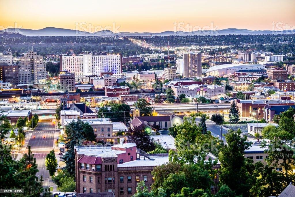 scenes around spokane washington downtown stock photo