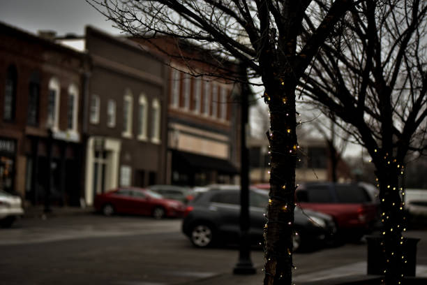 Scenes from a Small Town on a Rainy Monday Morning stock photo