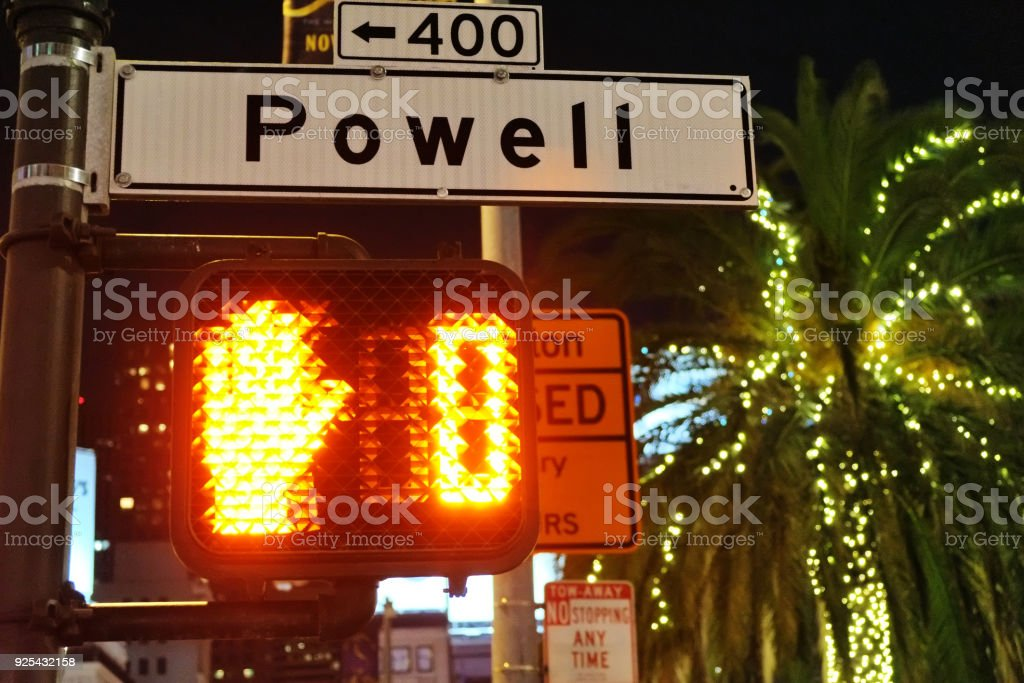 Scenes from San Francisco at night: Crosswalk at Powell Street stock photo