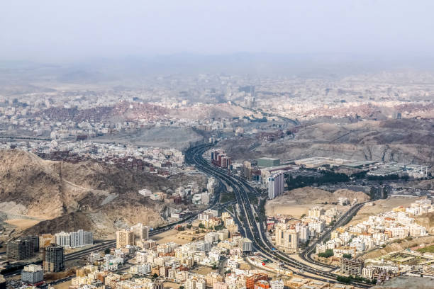 Sceni view of Makkah city view from mountains, saudi arabia