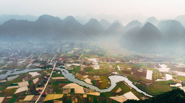 Scenic aerial view of Bac Son Valley stock photo