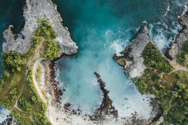 Scenic aerial view of Blue Lagoon  on Nusa Ceningan stock photo