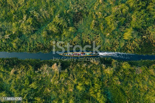 Scenic aerial view of boat on canal  on Inle Lake in Myanmar