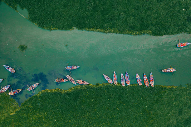 Scenic aerial view of boats on Inle lake in Myanmar stock photo