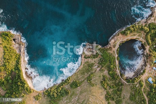 Scenic aerial view of Broken Beach on Nusa Penida, Bali, Indonesia