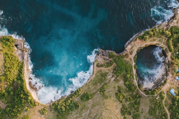 Scenic aerial view of Broken Beach on Nusa Penida stock photo