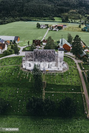 Scenic aerial view of church in Norway in summer