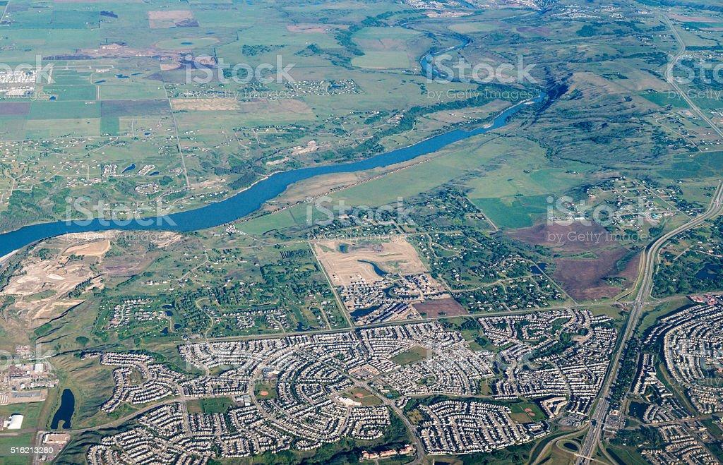 Scenic Aerial View of City of Calgary, Canada stock photo