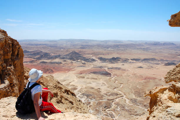 Scenic aerial view of Crater Ramon. Female hiker viewing volcanic landscape in Negev desert, Israel negev stock pictures, royalty-free photos & images